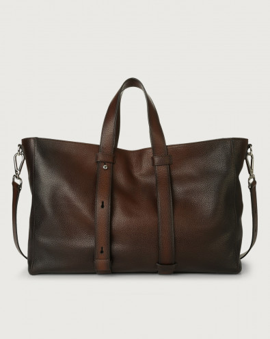 Micron Deep leather weekender bag