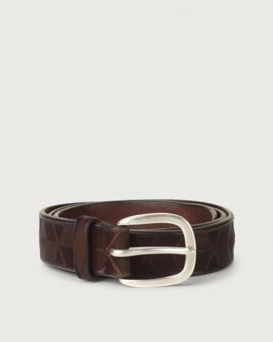 Bull Soft geometric decoration leather belt