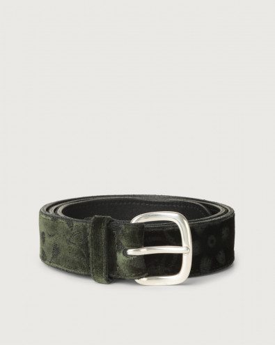 Velvet and leather belt