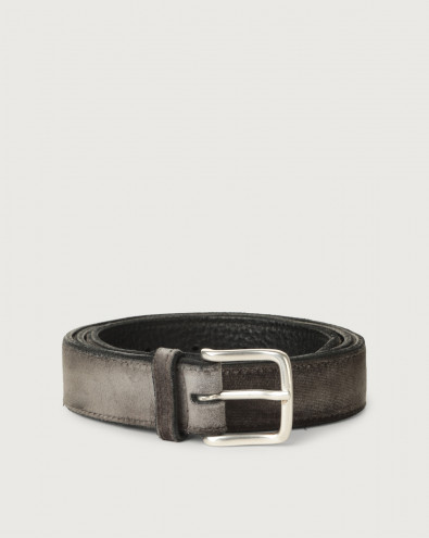 Velvet and leather belt 3 cm