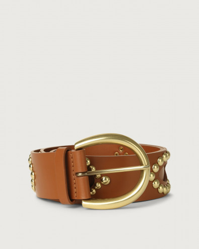 Piuma Ball leather belt with brass details
