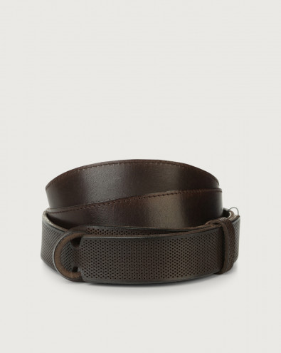 Dive Holes leather Nobuckle belt