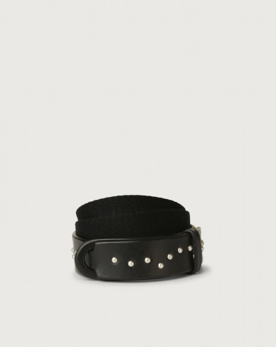 Point Metal leather and fabric Nobuckle Kids belt