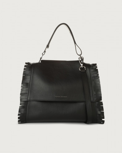 Sveva Fringe medium leather shoulder bag with strap