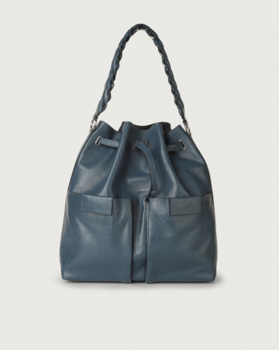 Tessa Grace large croc-effect leather bucket bag
