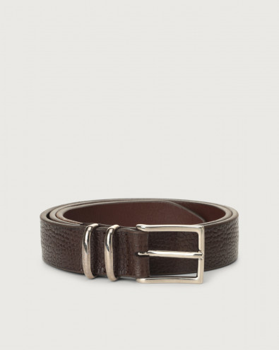 Grit leather belt with double metal loop