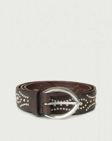 Chevrette leather belt with studs