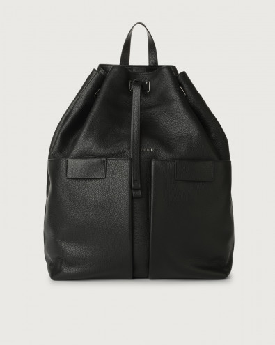 Micron leather drawstring backpack
