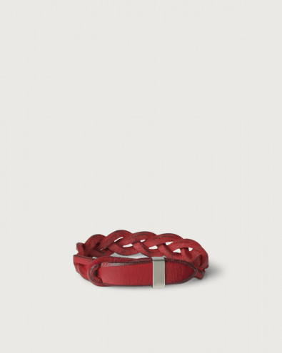 Walk leather Nobuckle bracelet with silver detail