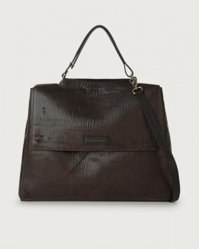 Sveva Cutting large leather shoulder bag with strap