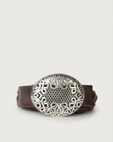 Fire (i) braided leather belt