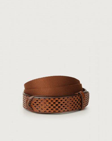 Dive leather and fabric Nobuckle belt