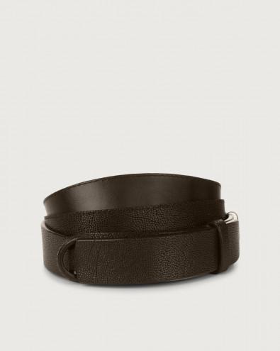 Frog embossed leather Nobuckle belt