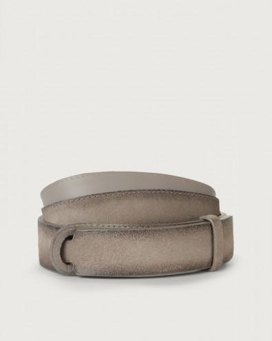 Cloudy suede Nobuckle belt