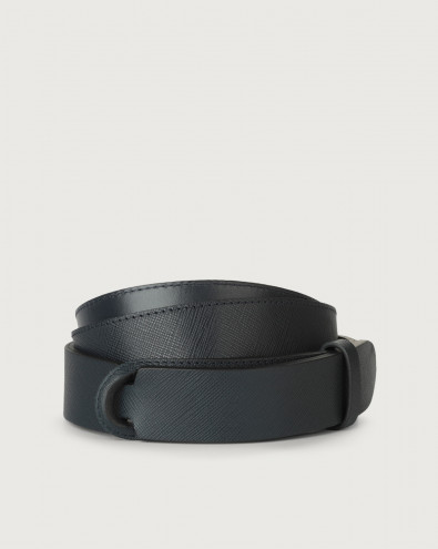 Saffiano leather Nobuckle belt