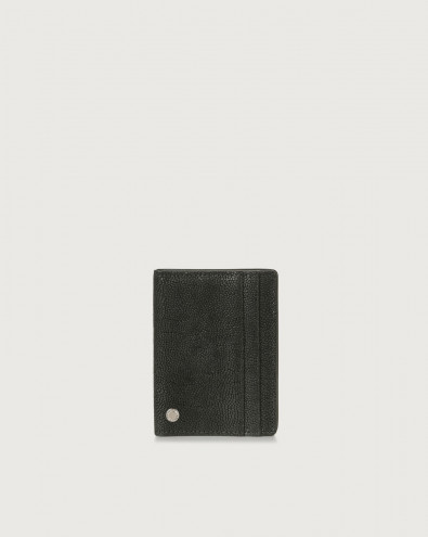 Frog hinge opening leather card holder with RFID