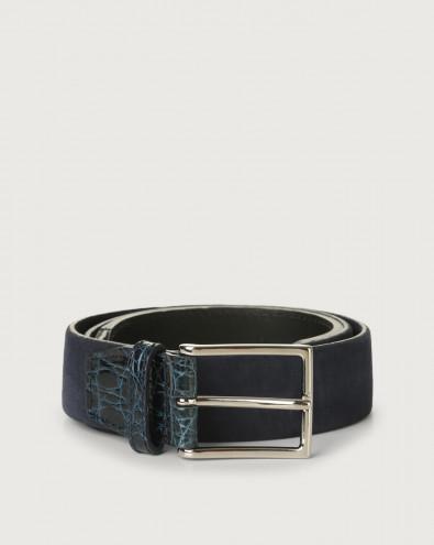 Camoscio cocco suede and crocodile leather belt