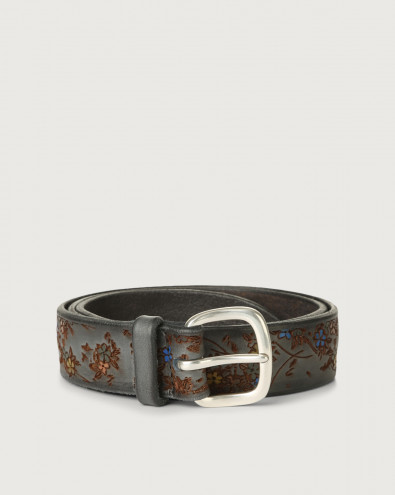 Blooming leather belt