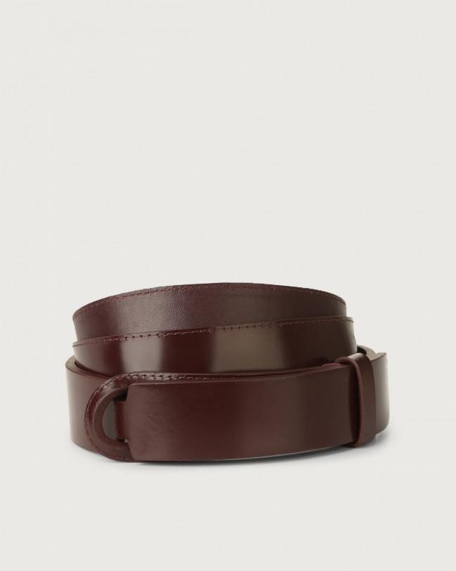 Orciani Bright leather Nobuckle belt Leather Bordeaux