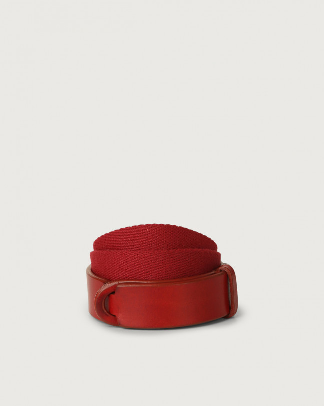 Orciani Bull leather and fabric Nobuckle Kids belt Leather & fabric Red