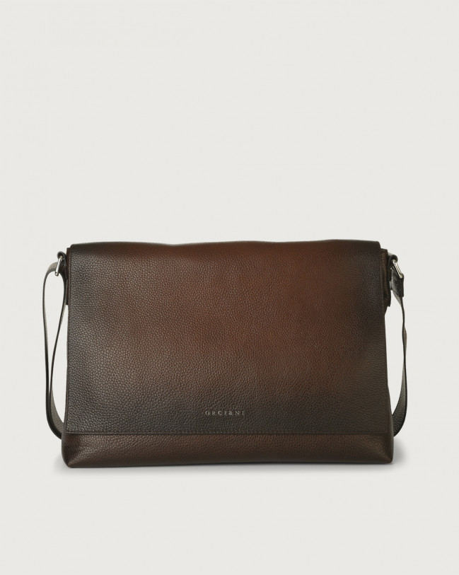 Orciani Micron Deep leather messenger bag Leather Burnt