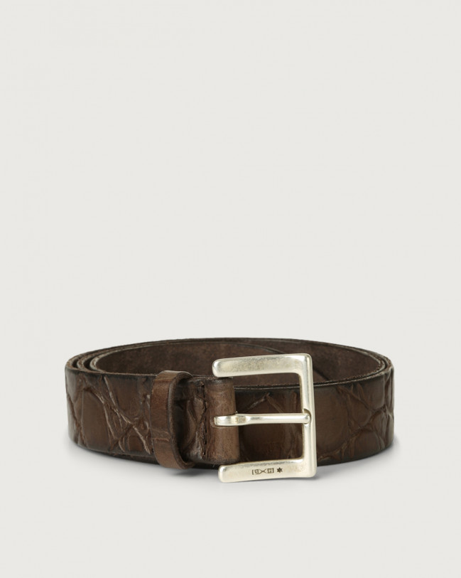 Orciani Sauro croc-effect embossed leather belt Embossed leather Chocolate