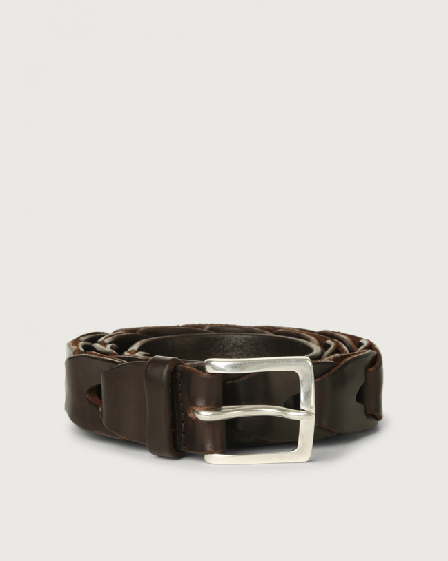 Orciani Bull Soft chain like leather belt Leather Chocolate