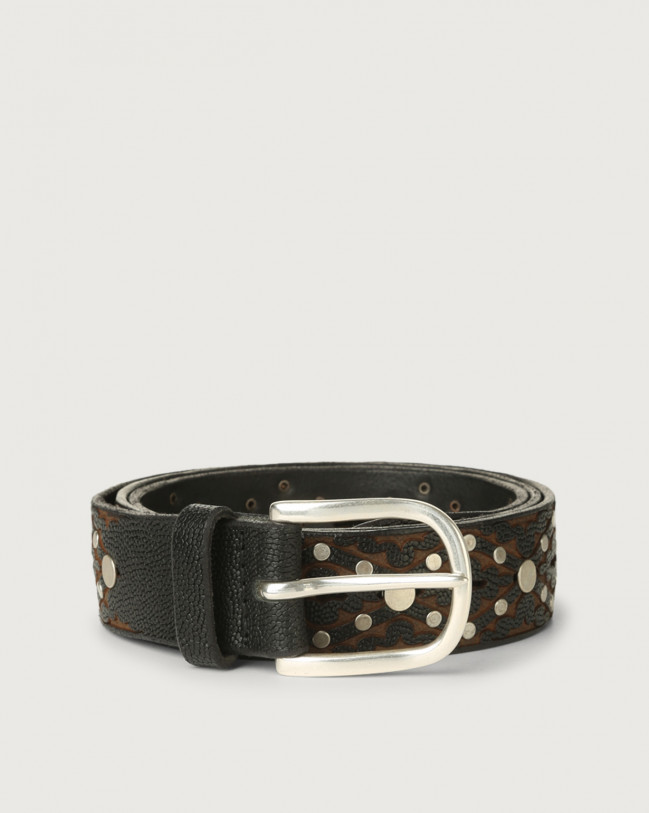 Orciani Frog leather belt with micro-studs Leather Black