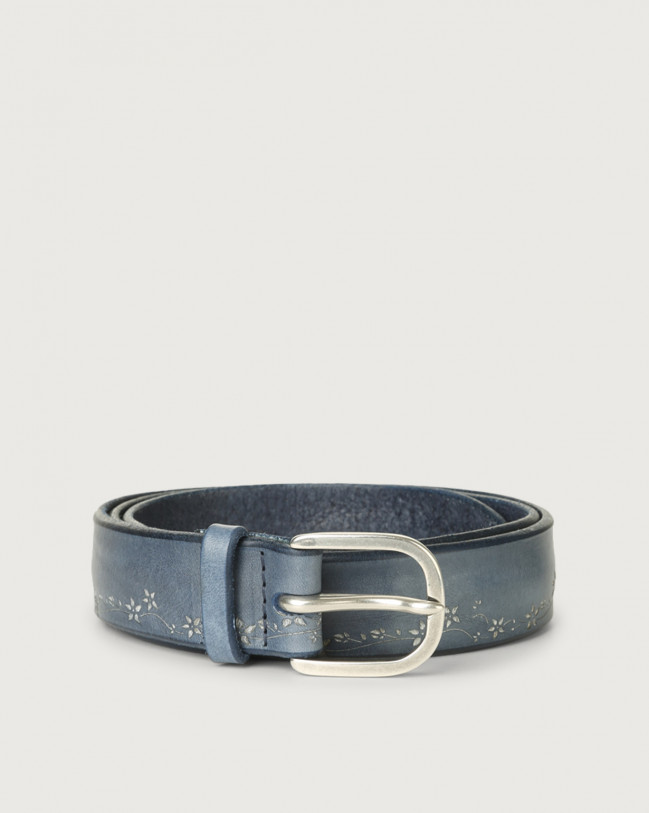 Orciani Stain Soapy leather belt with flower decoration Leather Denim