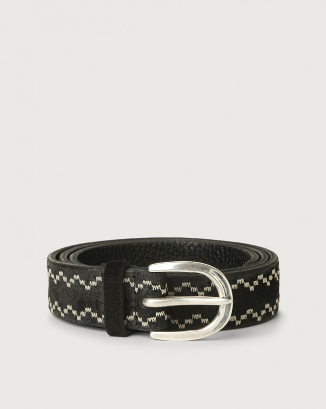 Orciani Cloudy Frame suede leather belt Suede Black