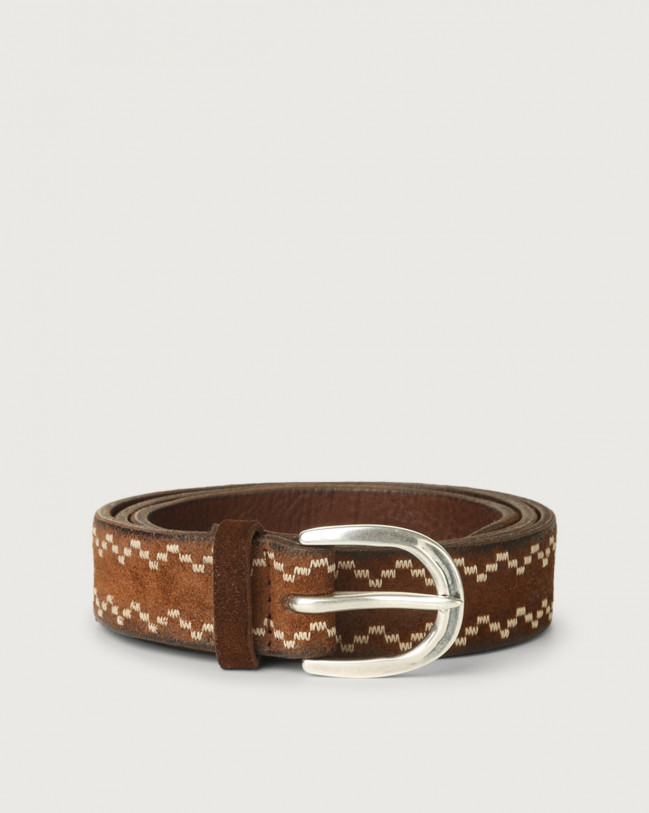 Orciani Cloudy Frame suede leather belt Suede Burnt