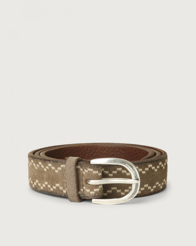 Orciani Cloudy Frame suede leather belt Suede Mud