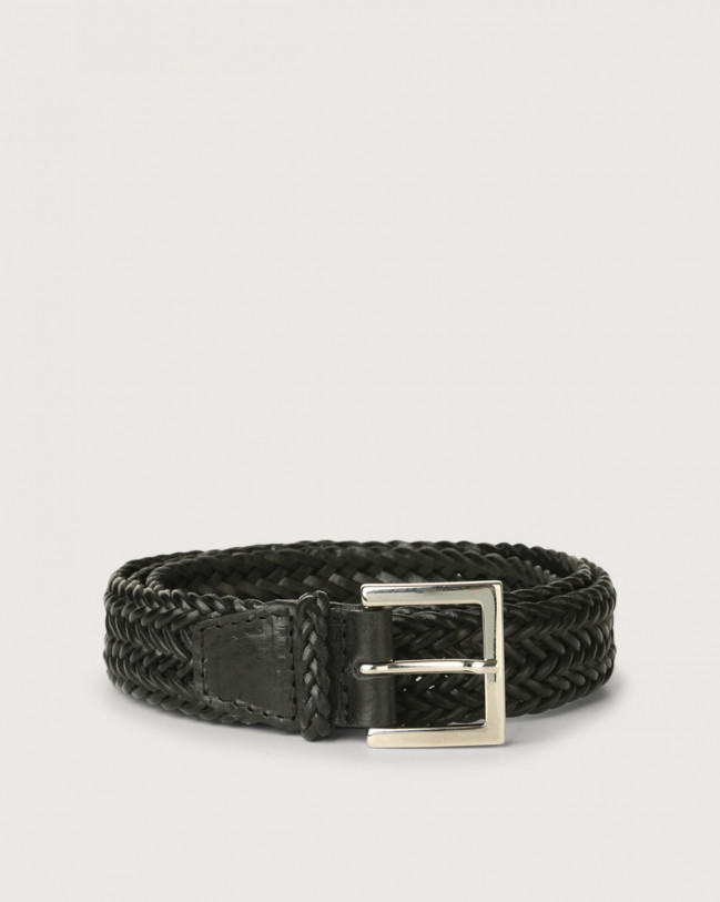 Orciani String woven leather belt Leather Black