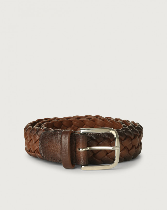 Orciani Micron Deep braided leather belt Leather Burnt
