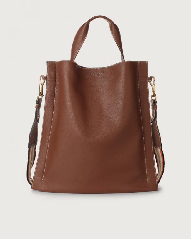Orciani Iris Fanty leather shoulder bag Leather & fabric Cognac