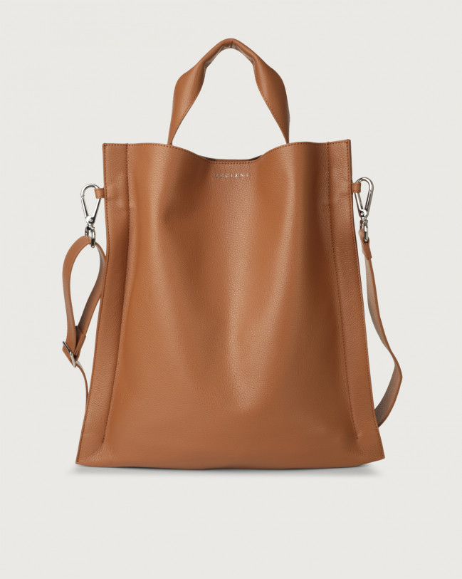 Orciani Iris Micron leather shoulder bag Leather Caramel