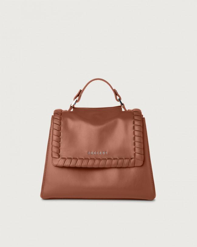 Orciani Sveva Liberty small leather handbag with strap Leather Cognac