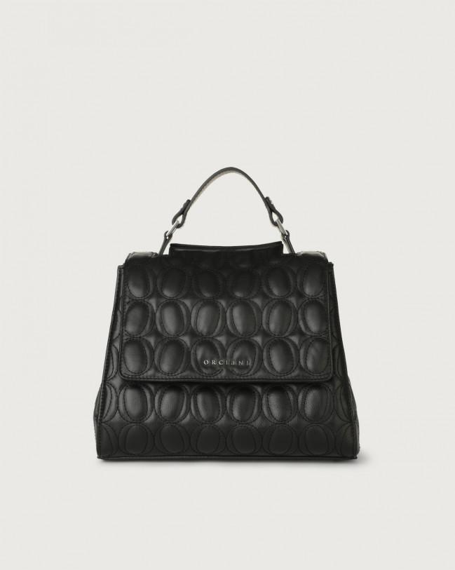 Orciani Sveva Matelassé small leather handbag with strap Leather Black