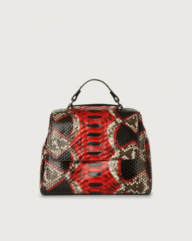 Orciani Sveva Naponos small python leather handbag Python Leather Red