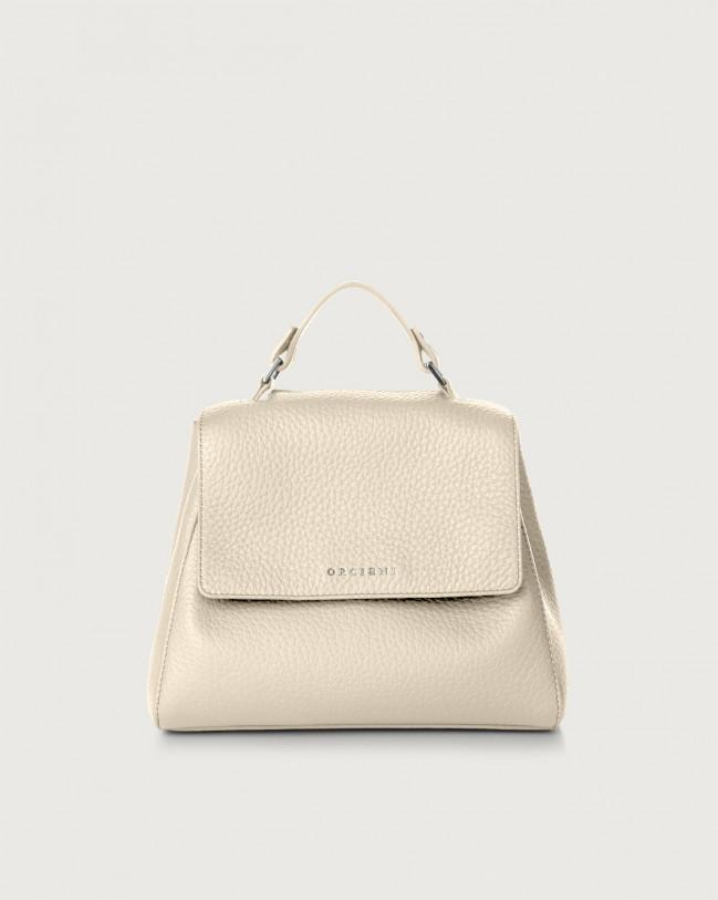 Orciani Sveva Soft small leather handbag with strap Leather Ivory