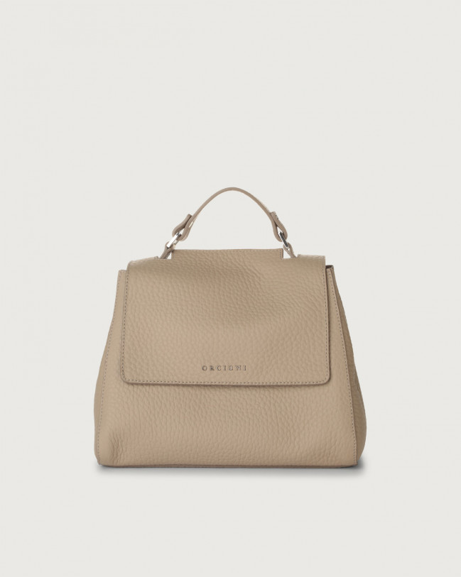 Orciani Sveva Soft small leather handbag with strap Leather Sand