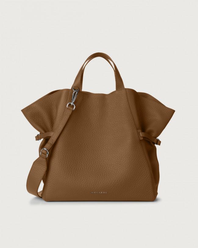 Orciani Fan Soft large leather handbag Leather Caramel