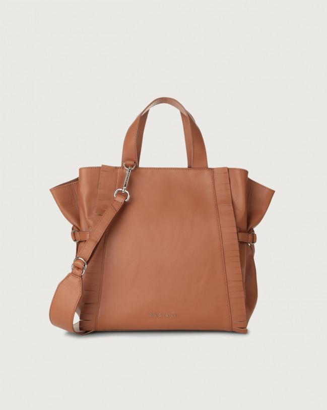 Orciani Fan Liberty Fringe medium leather handbag Leather Cognac