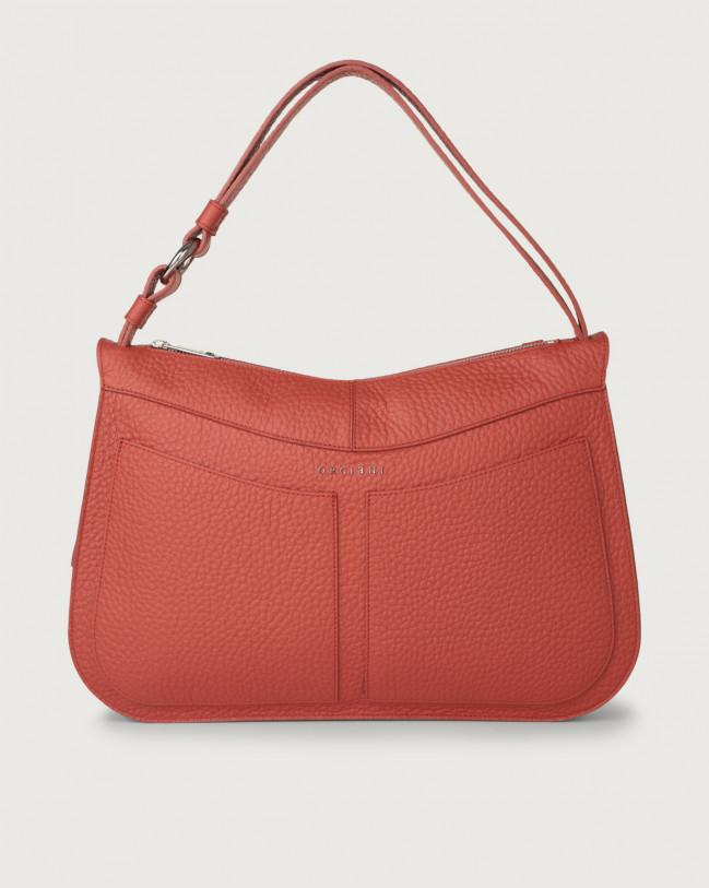 Orciani Ginger Soft large leather shoulder bag Leather Brick