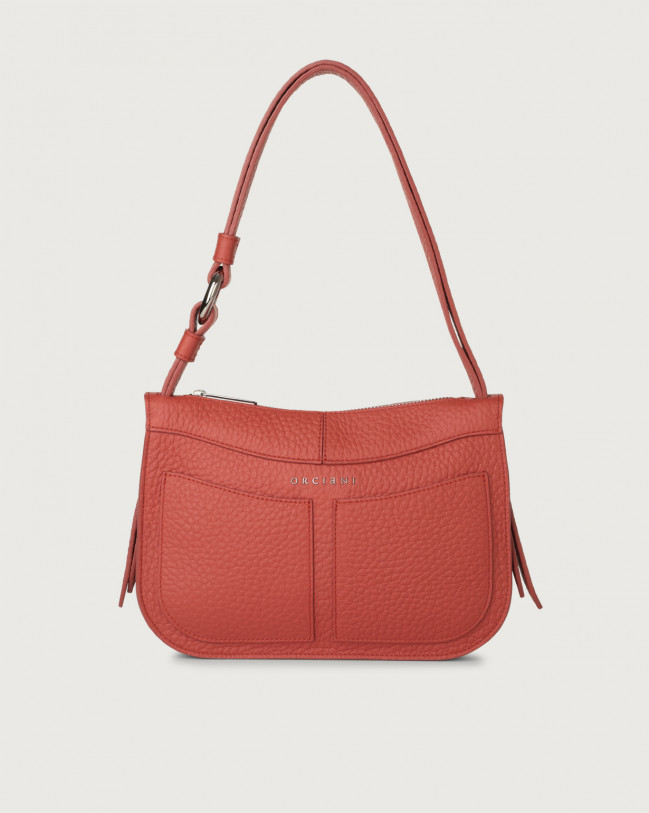 Orciani Ginger Soft small leather shoulder bag Leather Brick