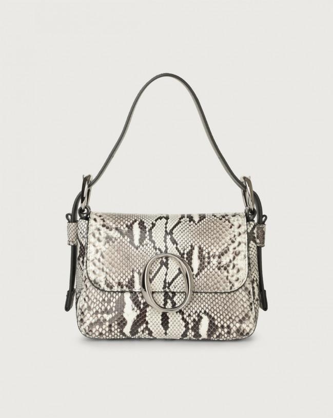 Orciani Soho Diamond pyhton leather mini bag with strap Python Leather White
