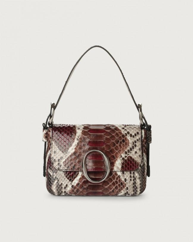 Orciani Soho Naponos pyhton leather mini bag with strap Python Leather Bordeaux