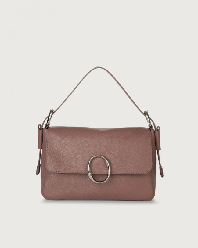 Orciani Soho Micron leather baguette bag with strap Leather Mauve