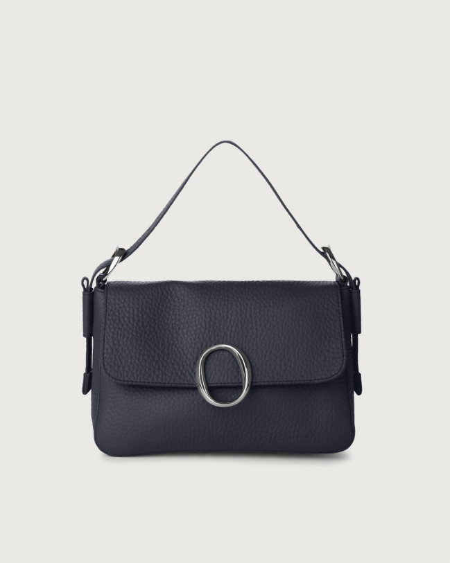 Orciani Soho Micron leather baguette bag with strap Leather Navy