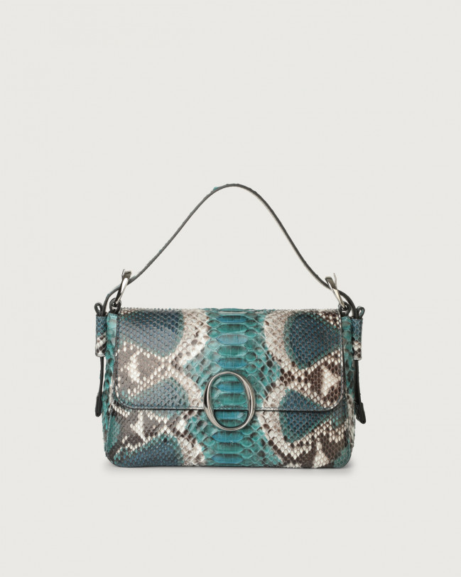Orciani Soho Naponos python leather baguette bag with strap Python Leather Blue